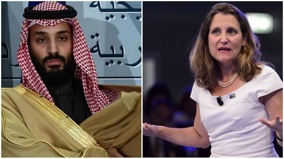 Le prince héritier saoudien Mohammed ben Salmane Al-Saoud et la ministre des Affaires étrangères du Canada, Chrystia Freeland.