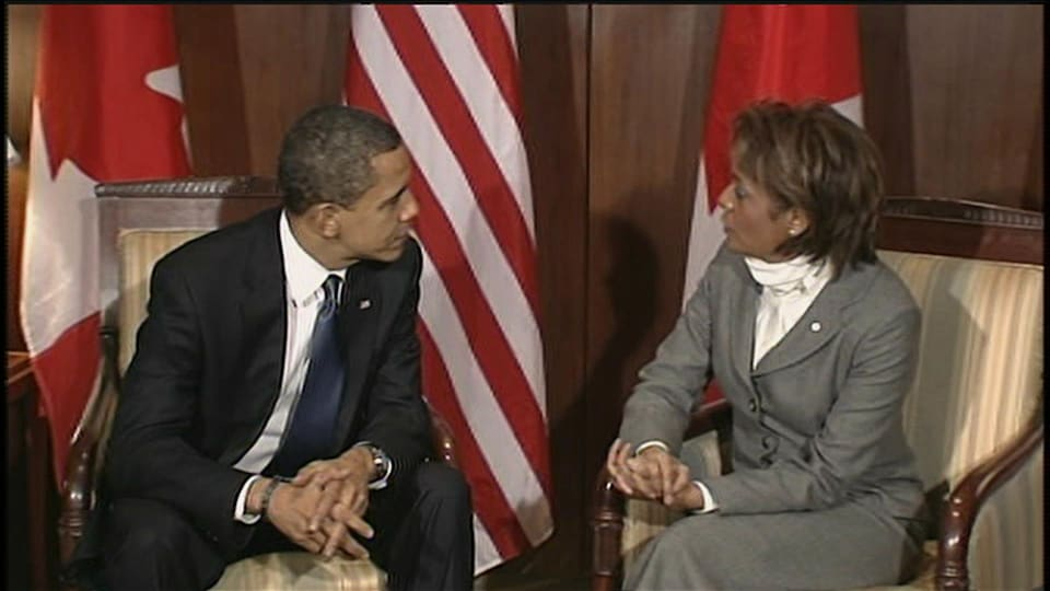 Michaëlle Jean et Barack Obama lors d'une discussion.