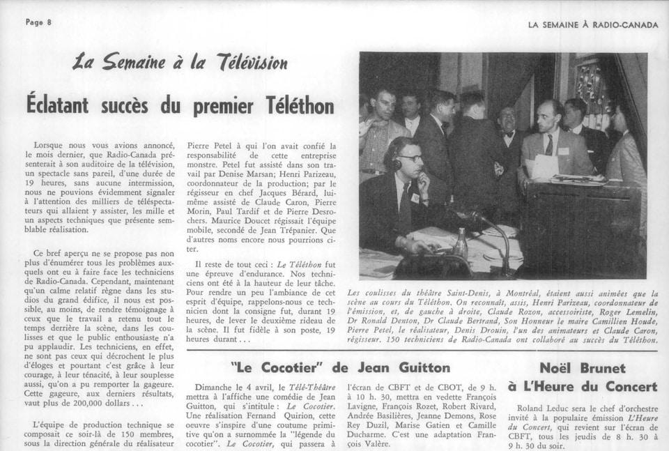 Article dans la revue La Semaine à Radio-Canada.
