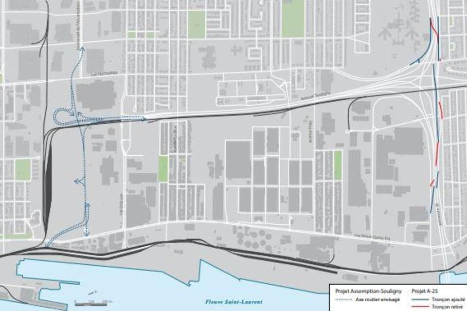 Carte du secteur l'Assomption-Sud-Longue-Pointe montrant l'emplacement du prolongement l'Assomption-Souligny