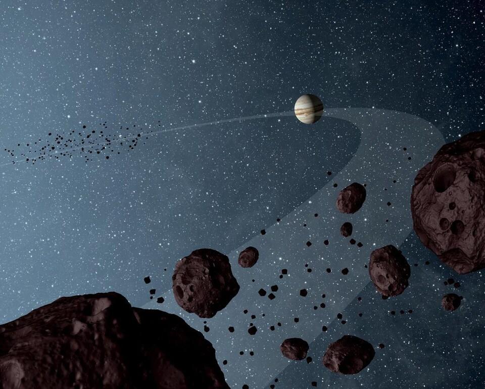 Représentation artistique des astéroïdes troyens de Jupiter.