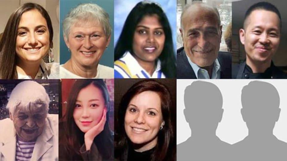 Photos en mosaïque des victimes, des hommes et des femmes