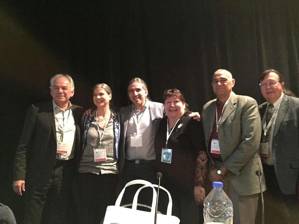 Ghislain Picard, Janet Smylie, Stanley Vollant, Karen Hill, Noel Hayman, Malcolm King à la conférence Indigenous Poeple's Health Services au WHS, à Montréal