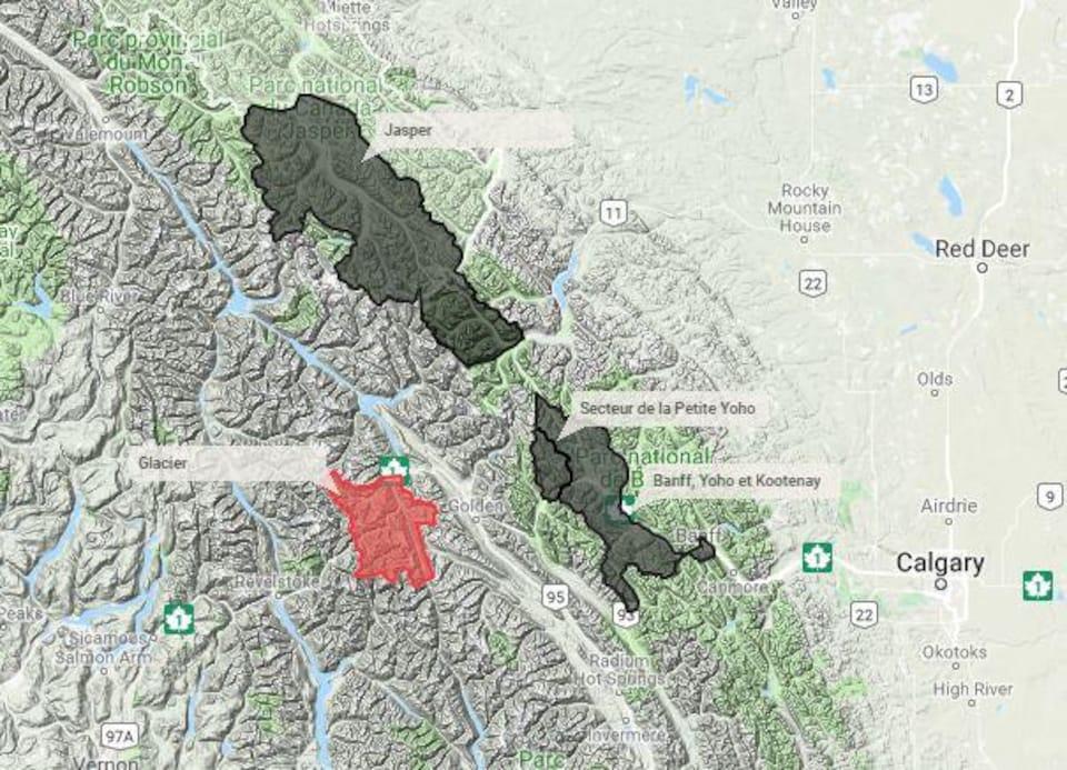 Une carte montre les risques d'avalanche dans les Rocheuses.