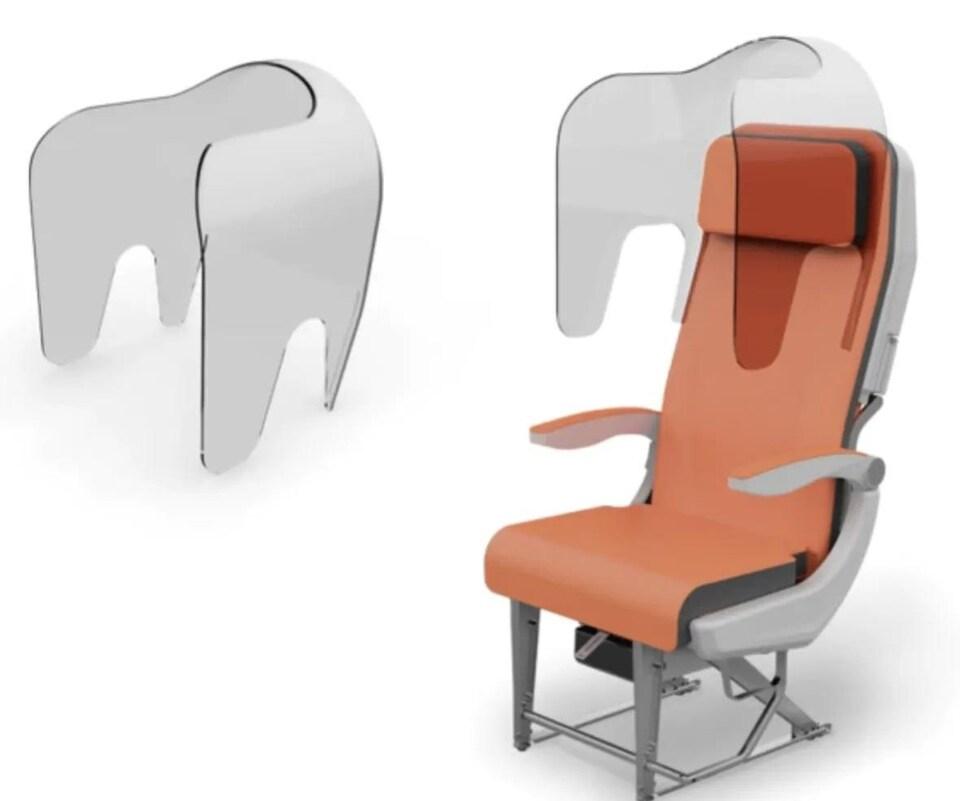 Un bouclier en plastique couvre la partie supérieure d'un siège d'avion. Il s'agit d'une photo pour montrer le fonctionnement dudit bouclier.