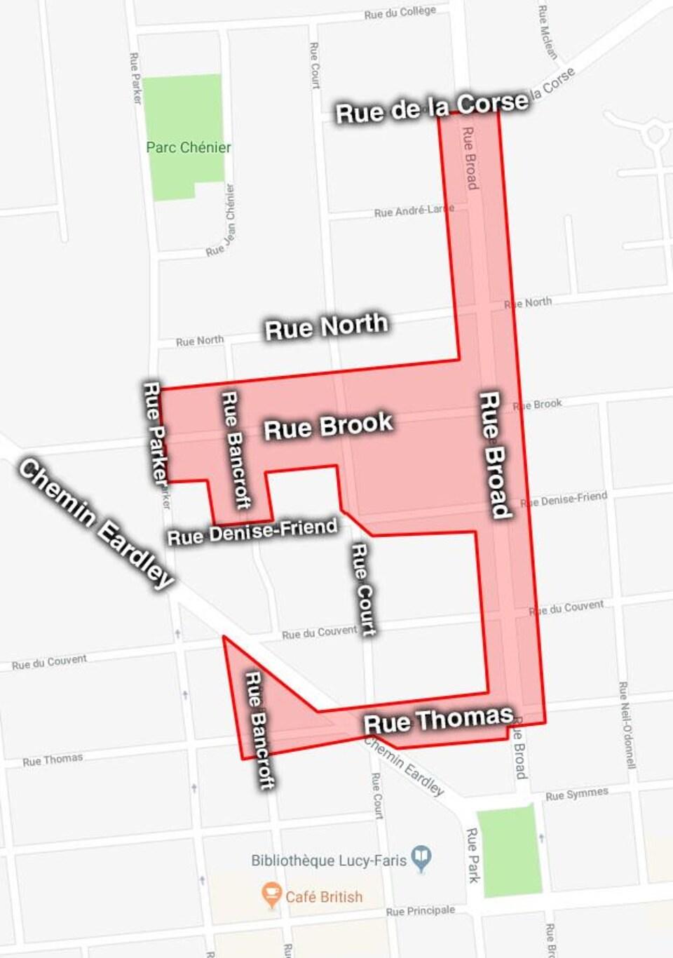 Une carte du secteur d'Aylmer montre les rues touchées par l'avis.