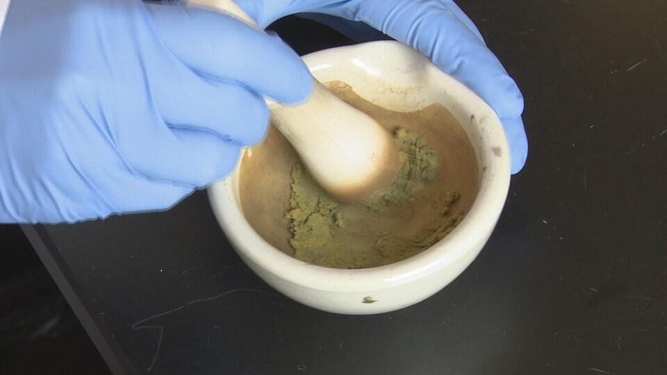Des substances verdâtres dans un mortier.