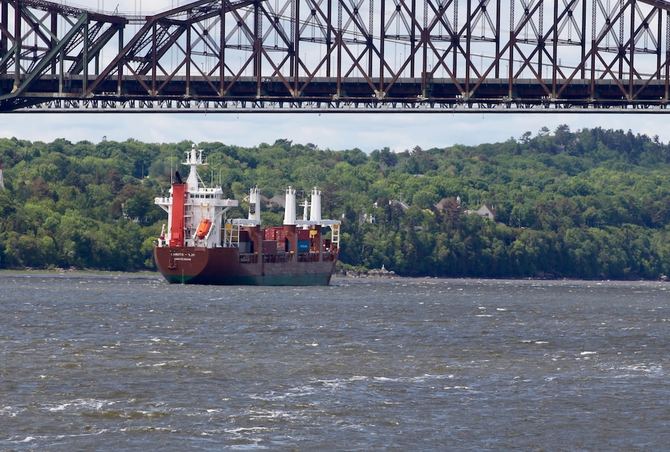 Un navire sous le pont de Québec