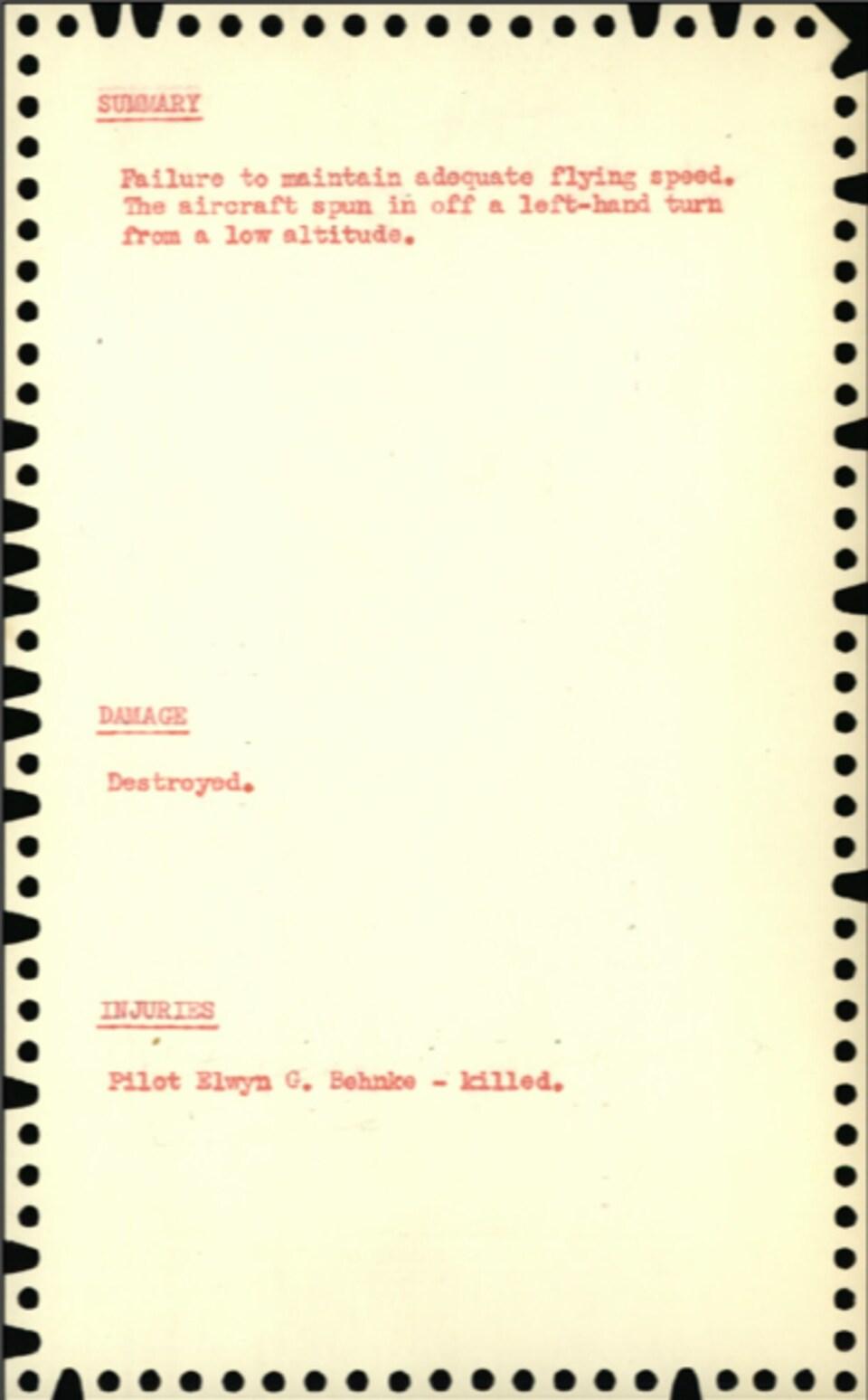 Une photocopie du rapport d'accident de M. Behnke.