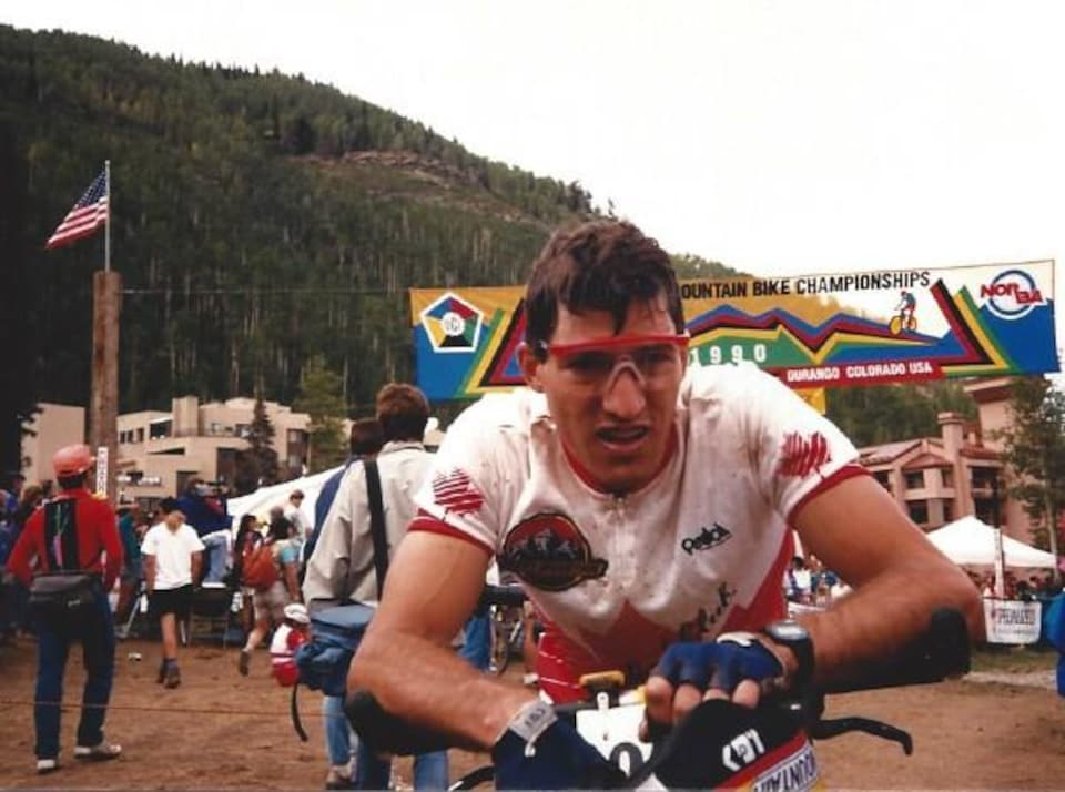 Bernard Vermette lors du tout premier Championnat du monde de vélo de montagne à Durango au Colorado en 1990