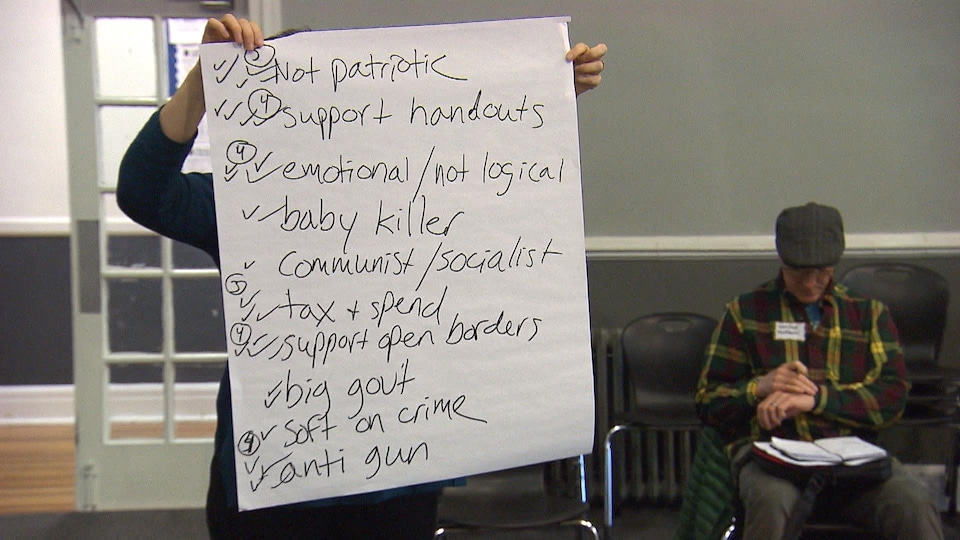 Sur une grande feuille de papier sont listés des stéréotypes attribués aux démocrates par les républicains.