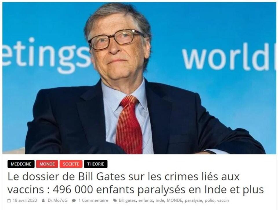 Capture d'écran d'un article intitulé «Le dossier de Bill Gates sur les crimes liés aux vaccins: 496 000 enfants paralysés en Inde et plus».