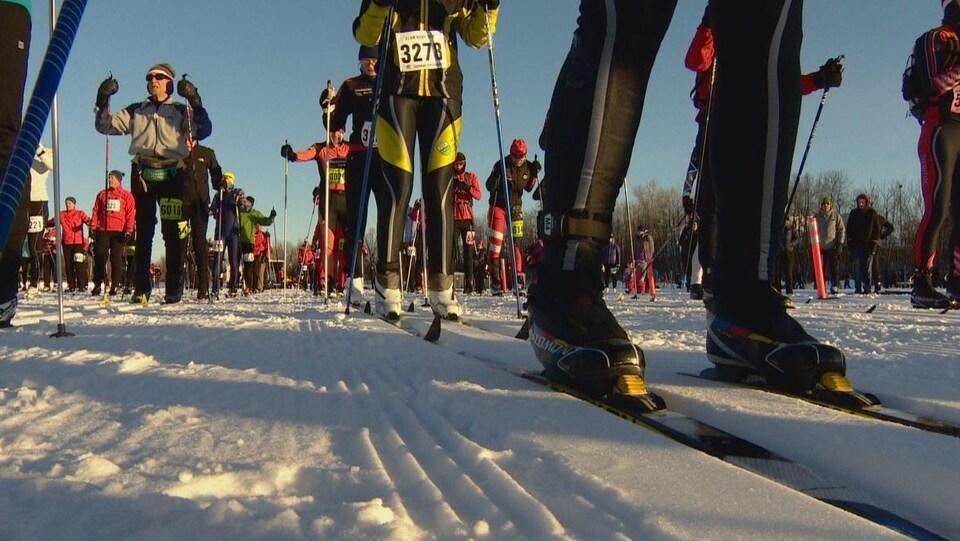 Les skieurs alignés attendent le départ