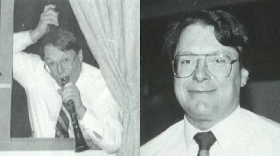 Deux photos d'un homme dont l'une où il joue avec une clarinette.