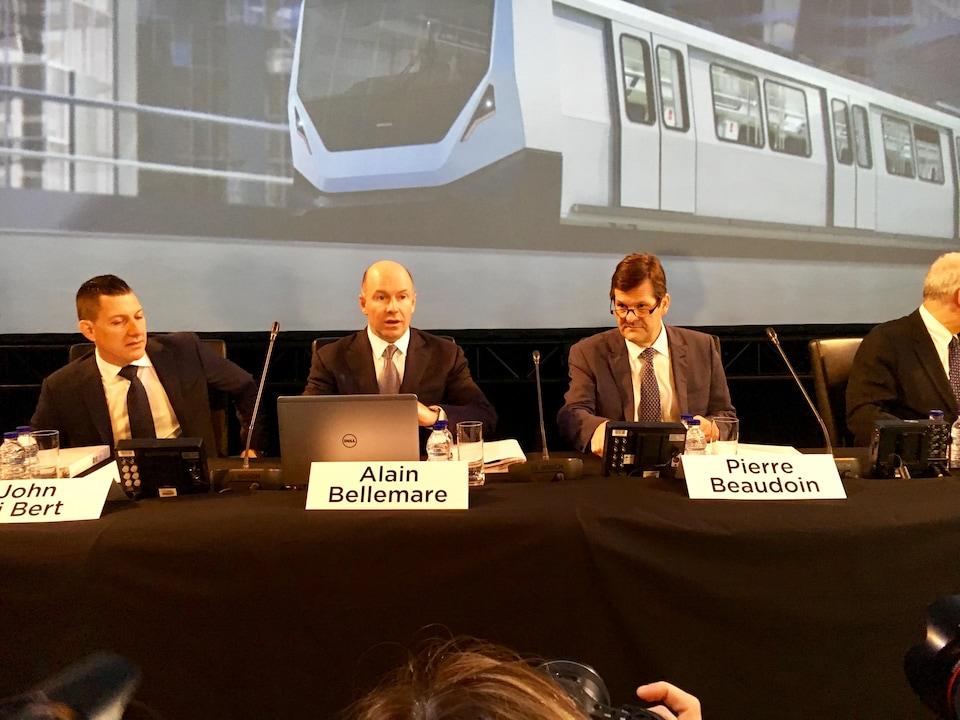 Le président et chef de la direction de Bombardier, Alain Bellemare, et le président de son conseil, Pierre Beaudoin
