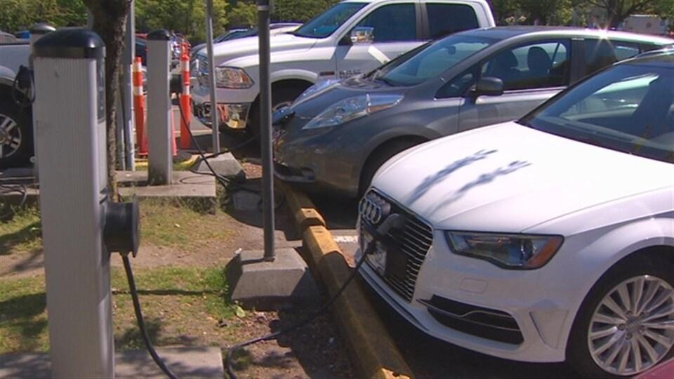 Des bornes de recharge pour voitures électriques.