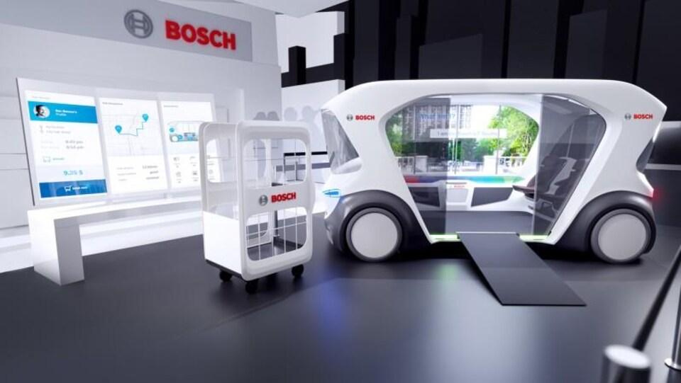 Dessin représentant un concept de navette électrique autonome du fabricant Bosch.