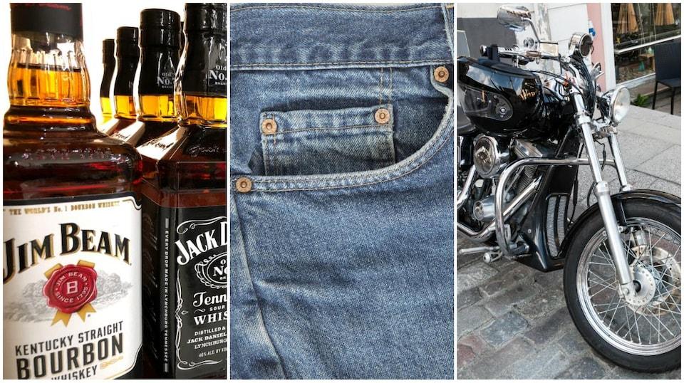 Du bourbon américain, des jeans et une moto de la marque Harley-Davidson