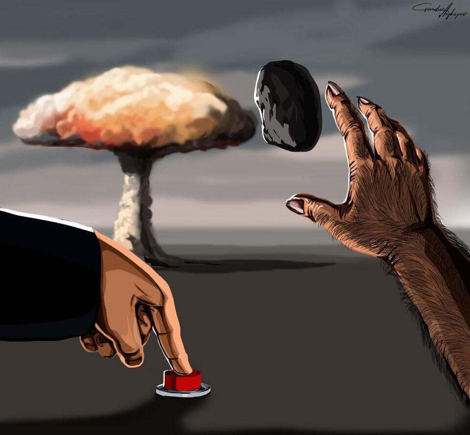De la pierre au bouton nucléaire, une oeuvre de Gunduz Aghayev.