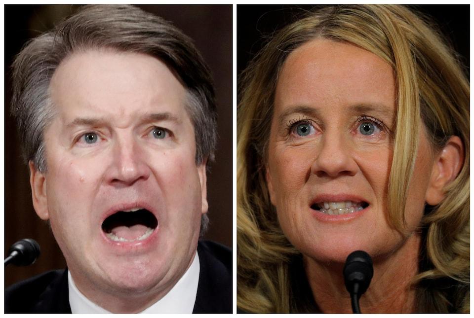 Brett Kavanaugh, candidat à la Cour suprême des États-Unis, et la professeure Christine Blasey Ford, témoignent lors d'une audience de confirmation de la Commission judiciaire du Sénat au Capitole à Washington.