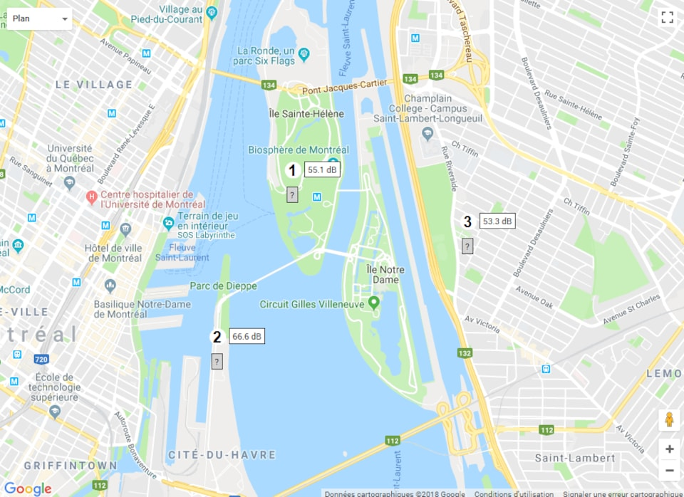 Une carte avec le parc Jean-Drapeau.