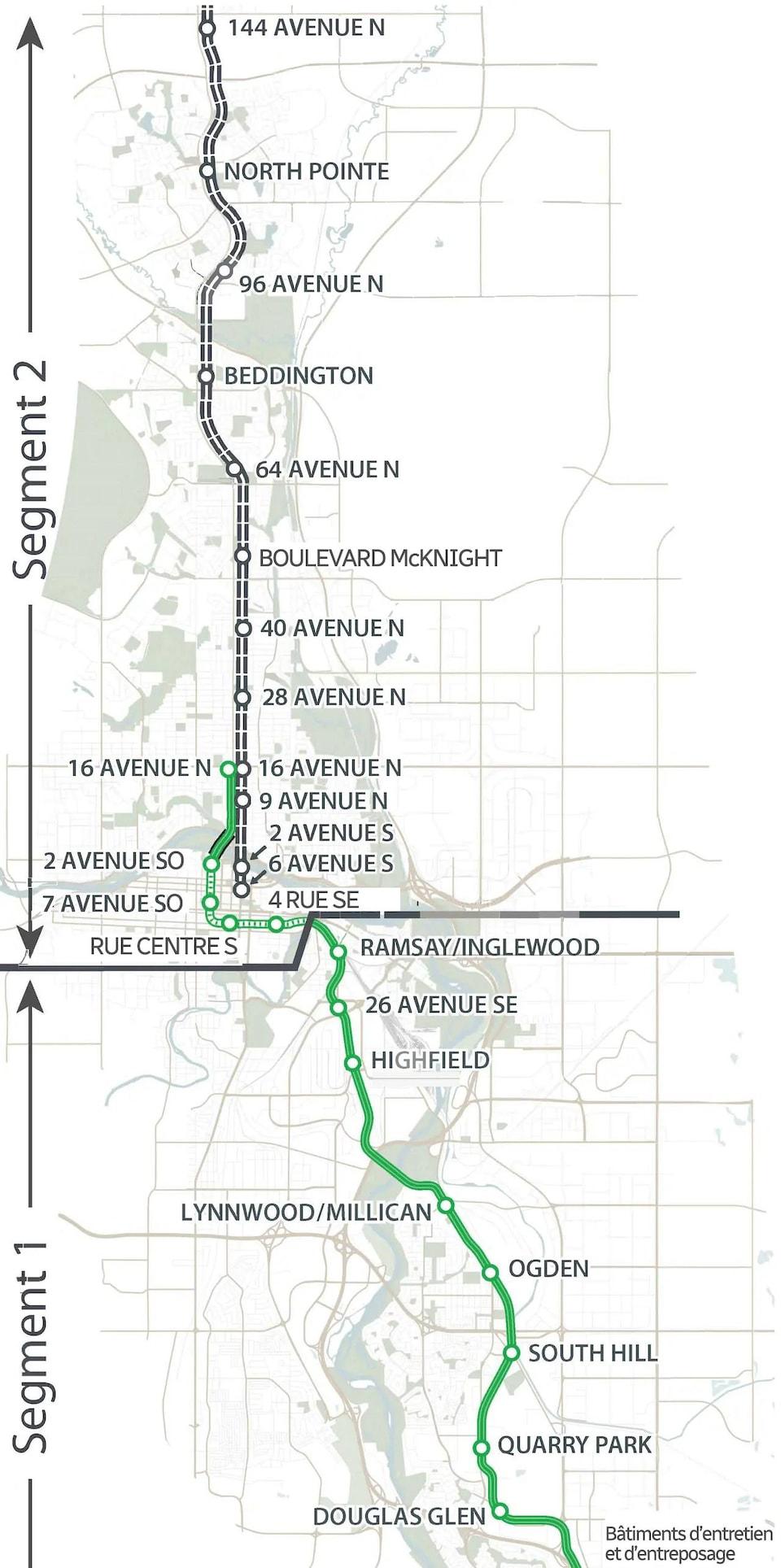 Carte du tracé la ligne verte.