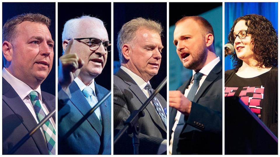 Montage photo des cinq candidats à la direction du Parti progressiste-conservateur de l'Île-du-Prince-Édouard s'adressant aux membres de la formation politique le 9 février 2019 à Charlottetown.