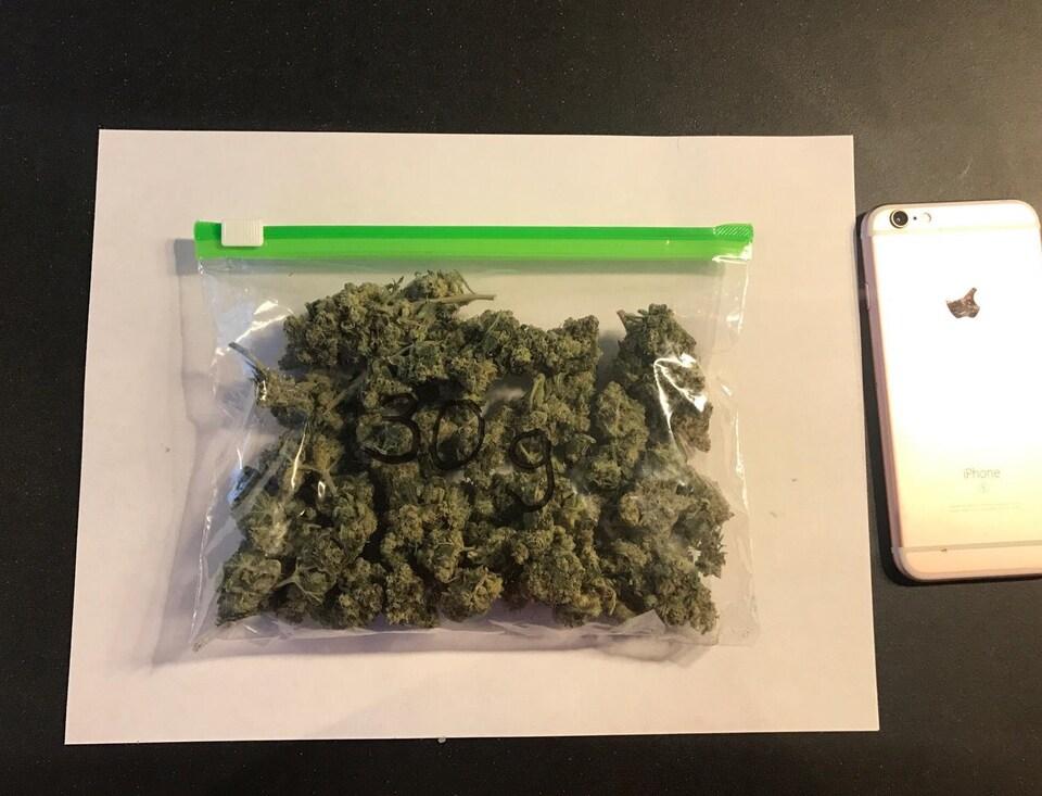 30g de cannabis séché