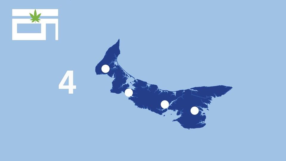 Une carte affiche les points de vente de cannabis à l'Île-du-Prince-Édouard.