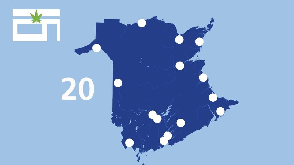 Une carte affiche les points de vente de cannabis au Nouveau-Brunswick.