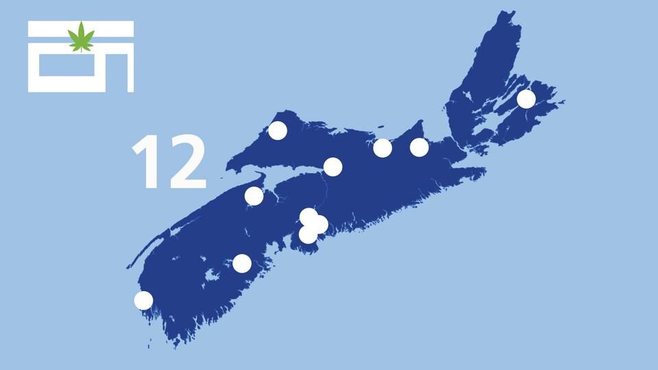 Une carte affiche les points de vente de cannabis en Nouvelle-Écosse