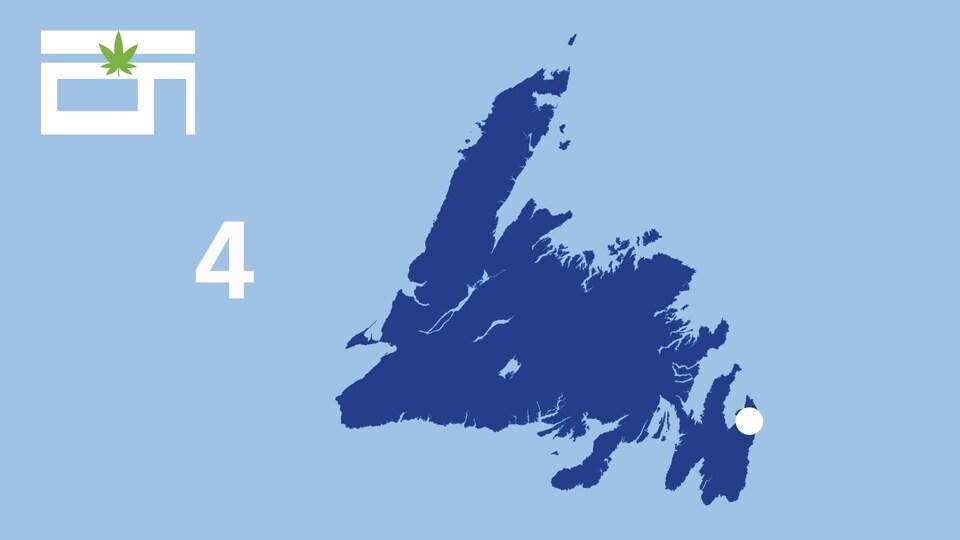 Une carte affiche les points de vente de cannabis à Terre-Neuve.