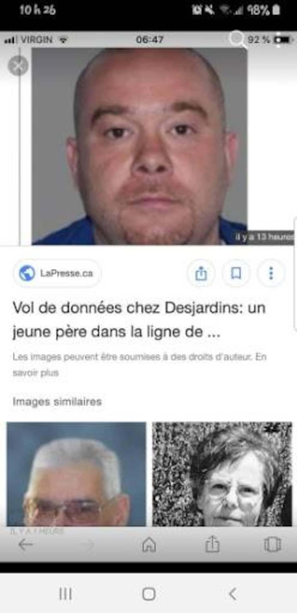 On voit une photo d'un homme au-dessus d'un titre d'article sur le vol de données chez Desjardins.