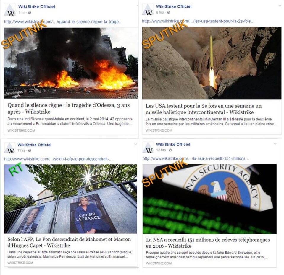 Montage de captures d'écran de quatre articles ayant été publiés par la page Facebook de Wikistrike le 3 mai 2017, ainsi que les sources d'information citées.