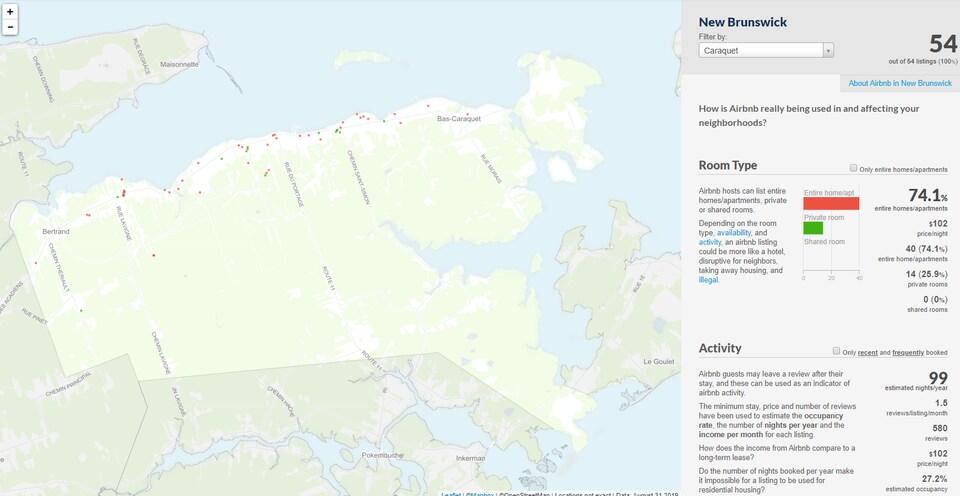 Cartographie d'insideairbnb.com