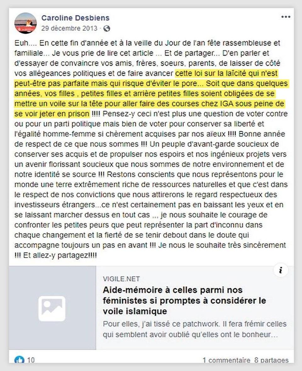 Publication de Caroline Desbiens sur sur mur Facebook, en date du 29 décembre 2013.