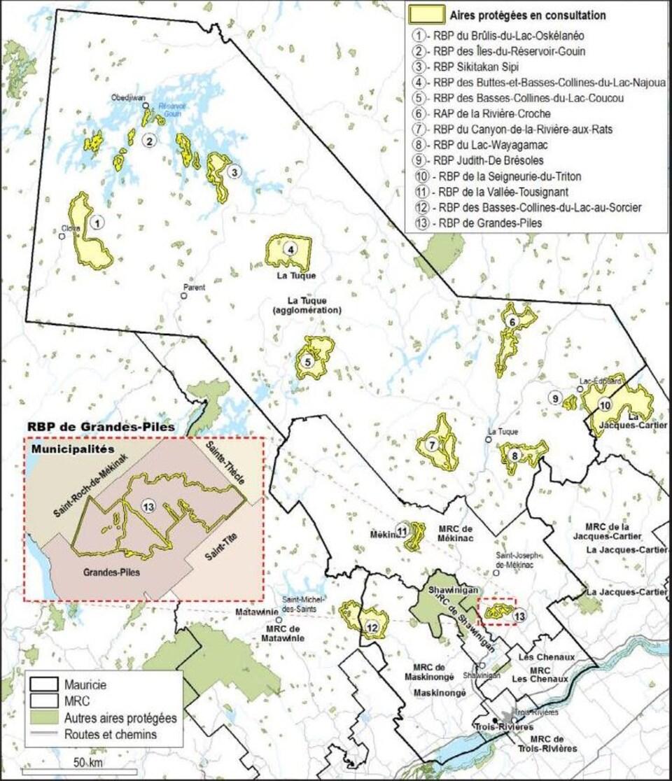 Carte montrant les aires protégées