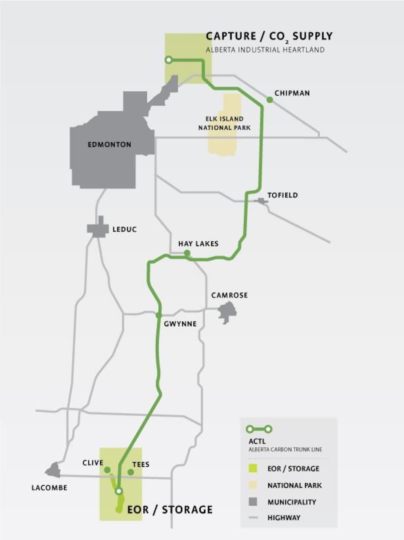 Une carte montre le tracé du nord au sud du projet ACTL.