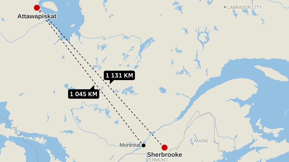 Carte routière montrant la distance entre Attawapiskat et Sherbrooke