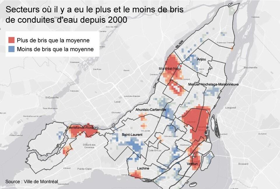 Carte indiquant les secteurs les plus et les moins touchés par des bris de conduites d'eau à Montréal