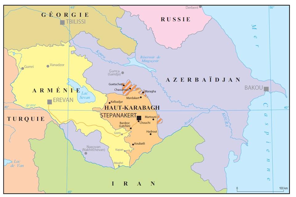 Une carte du Caucase
