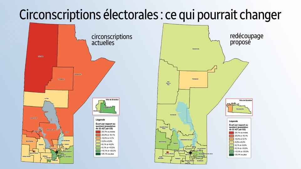 Une infographie représente les circonscriptions électorales au Manitoba avant et après les changements proposés.