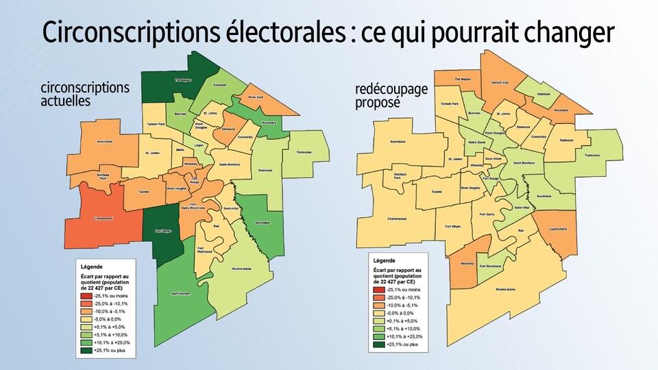 Une infographie représente le territoire électoral de Winnipeg avant et après les modifications proposées.