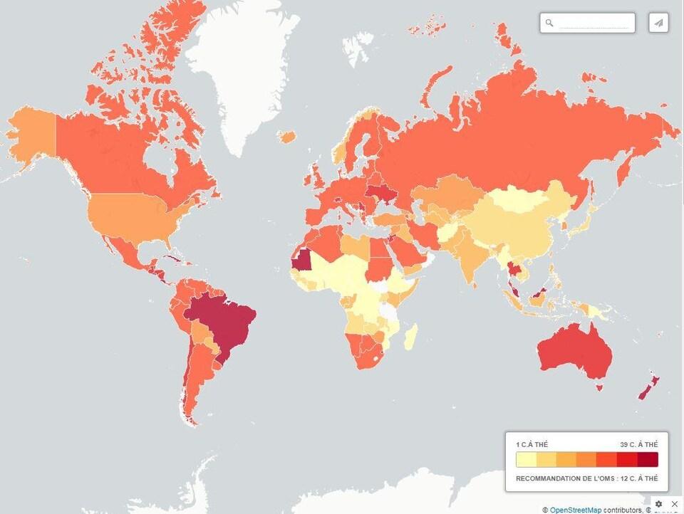 Carte du monde représentant la consommation de sucre par pays.