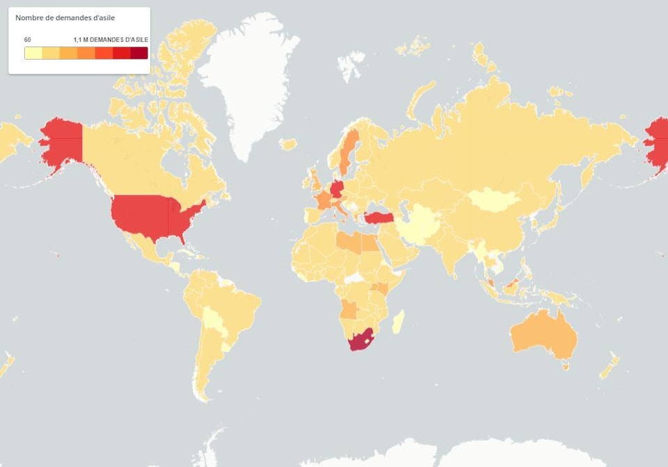 Carte du nombre de demandeurs d'asile.