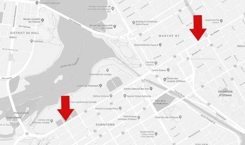 Une carte avec des flèches qui indiquent les deux seuls arrêts desservis par la STO mardi.