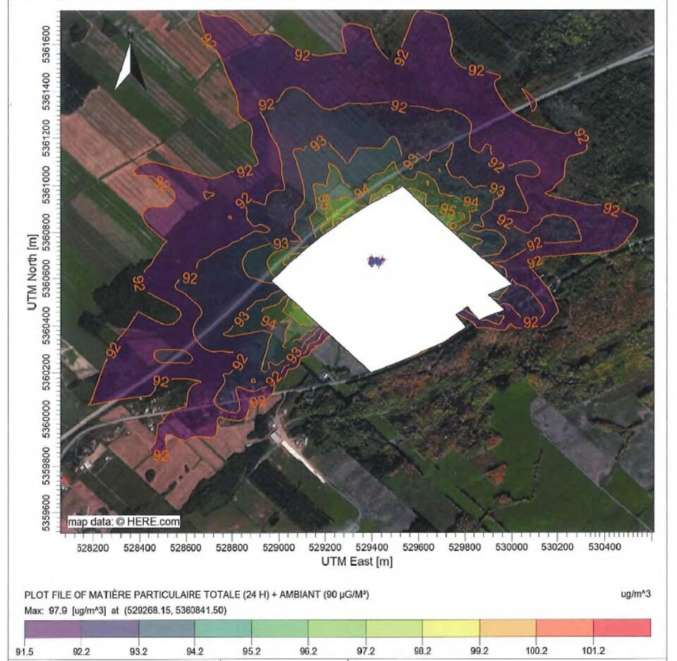 Concentration en matière particulaire totale (24 heures) au sol dans les environs de l'usine mobile de Rimouski.