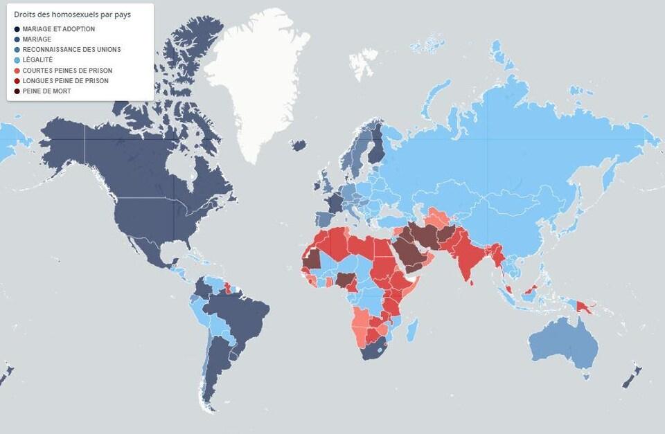 Les droits des homosexuels selon le pays et les peines qui les guettent là où l'homosexualité est illégale.
