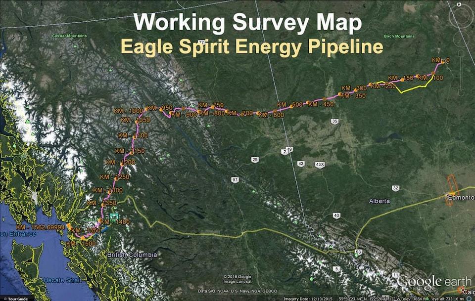 Une carte du tracé du pipeline Eagle Spirit Energy.