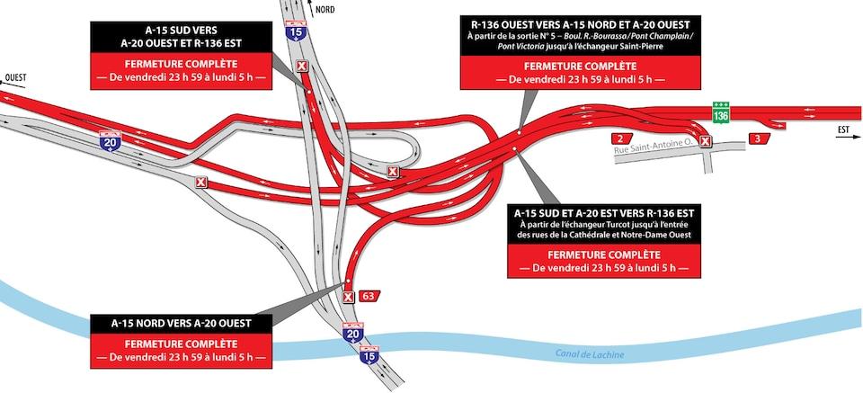 Carte des entraves et fermetures dans le secteur de l'échangeur Turcot à Montréal